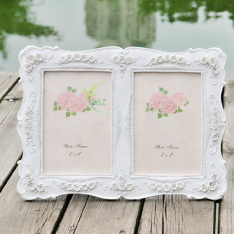 Pack/5units) European Style 6 inch Double Combined White Rose Resin ...