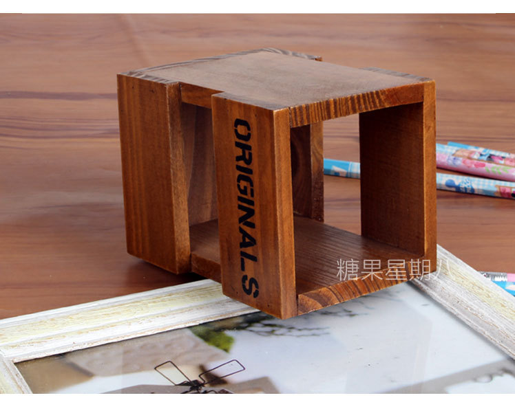 office desktop stationery zakka wood storage box small things can