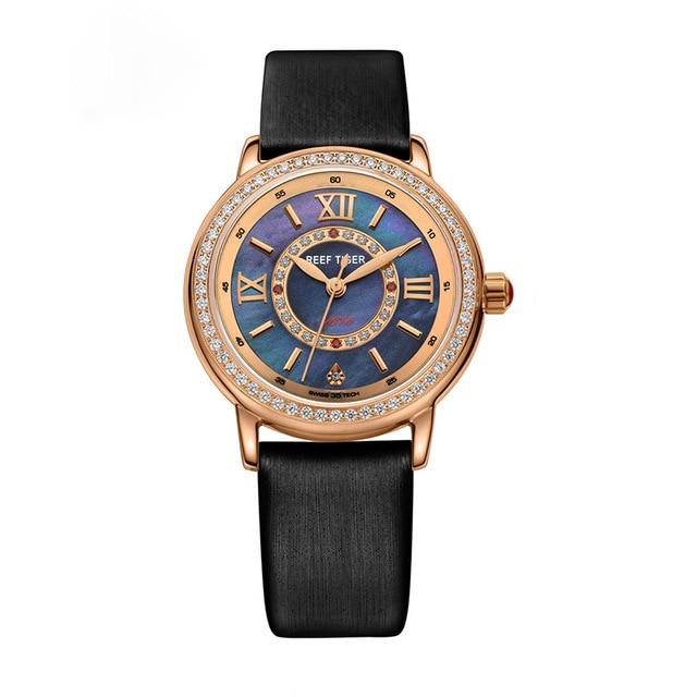 Récif tigre amour Serier RGA1563 en acier inoxydable mode casual montres d'affaires pour femmes dames lune Phase Quartz montre-bracelet