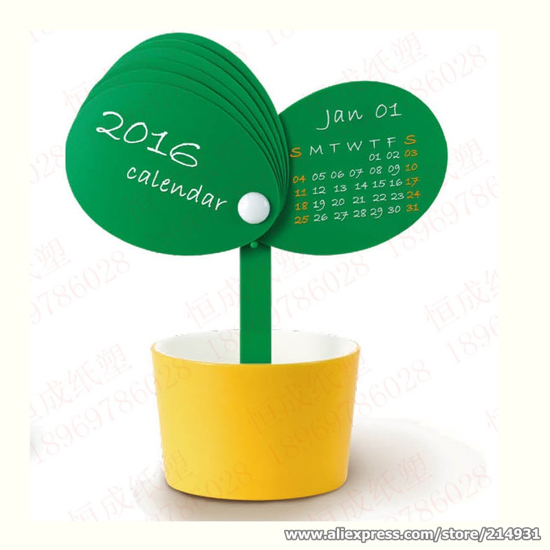 Creative Table Calendar Ideas : Novelty table calendar bud flowerpot shaped mini desk