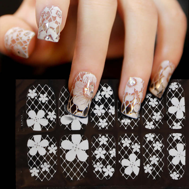 ELECOOL New Nail art decorations Nail Stickers White Lace with ...