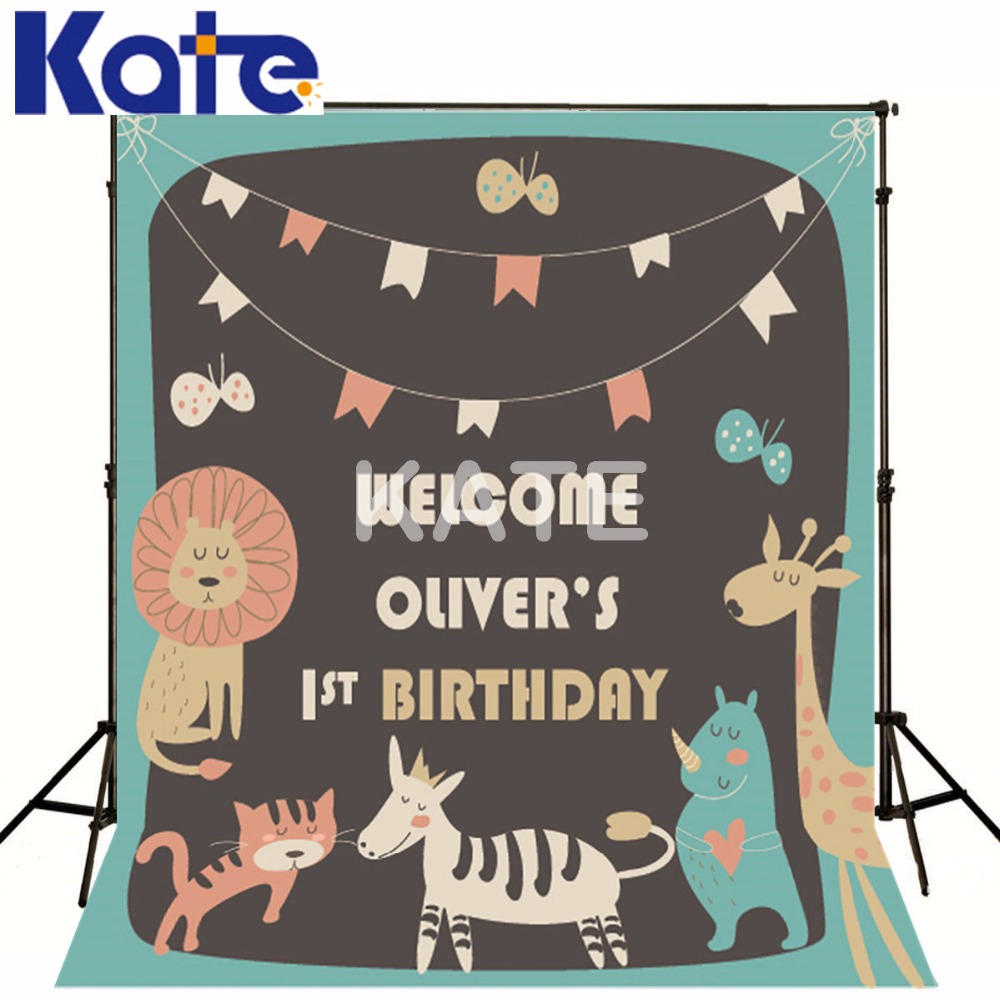 Kate Baby Birthday Background Animal party Backdrops Newborn Photography Background Customize Seamless Photo For Studio Custom kate baby birthday background globos newborn photography background photography backdrops seamless photo for studio custom