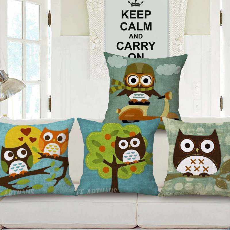 Cushion Covers Animal Cartoon Owl Decorative Pillows Cotton Linen Outdoor  Throw Pillow Cases 45*45cm
