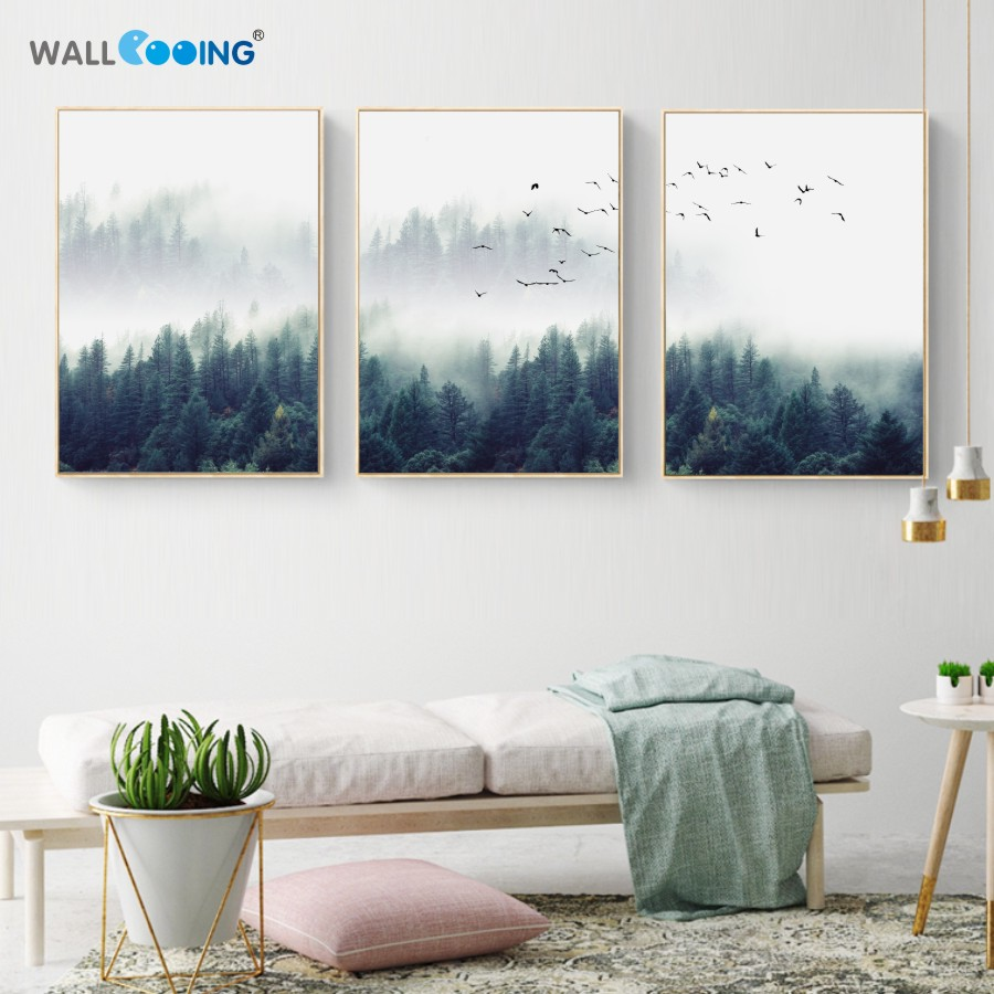 Canvas Painting Nordic Decoration Forest Lanscape picture posters ...