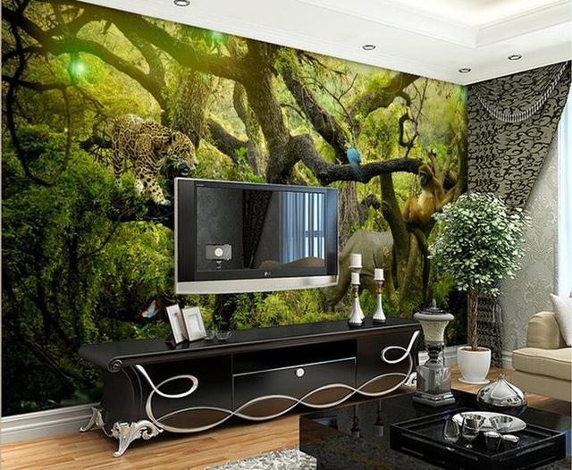 Benutzerdefinierte 3d Wallpaper Waldtiere Landschaft Kunst Mural