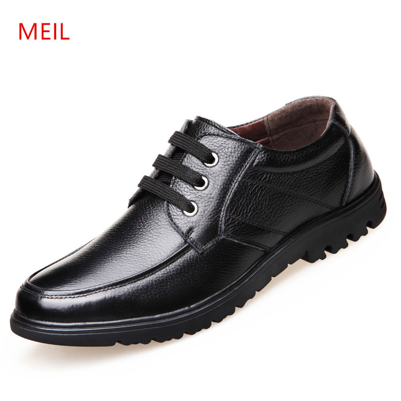 MEIL New Design 2018 Winter shoes men warm Genuine Leather Driving Loafers Casual Men Flat Shoes snow boots mens casual