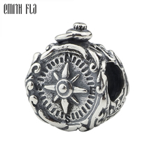 Emith Fla 925 Sterling Silver Beads Compass Vintage Round Charm Jewellery Fit Bracelet Valentines Day Gift