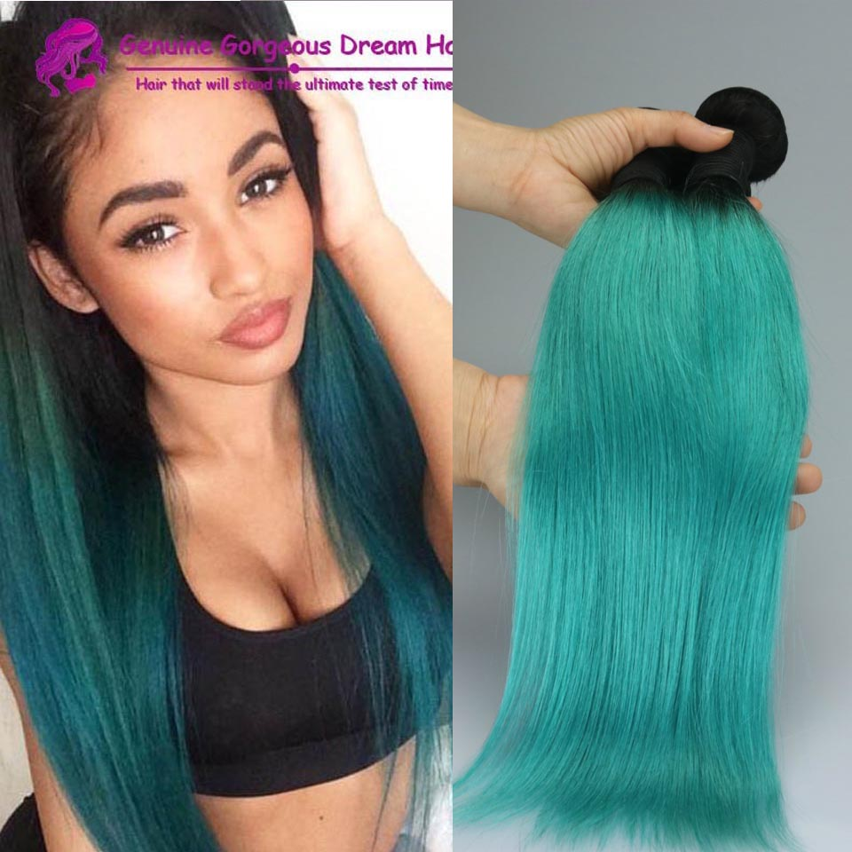 3bundles Brazilian Ombre Green Virgin Hair Extensions Straight Two