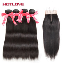 HOTLOVE Brazilian Straight Hair 4 Bundles With Closure Middle Part 4x4 Lace Closure With Baby Hair Natural Color Non-Remy Hair(China)