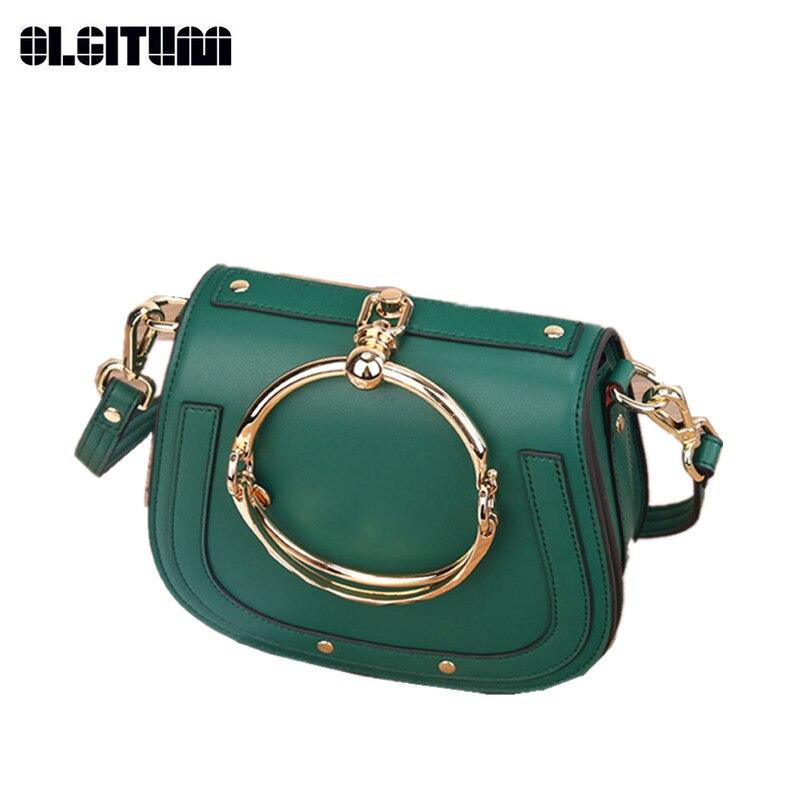 New Fashion Wommen's Bag Retro Genuine Leather Handbags Hand-ring Saddle Bag Solid Color Shoulder Bag HB817 sa212 saddle bag motorcycle side bag helmet bag free shippingkorea japan e ems
