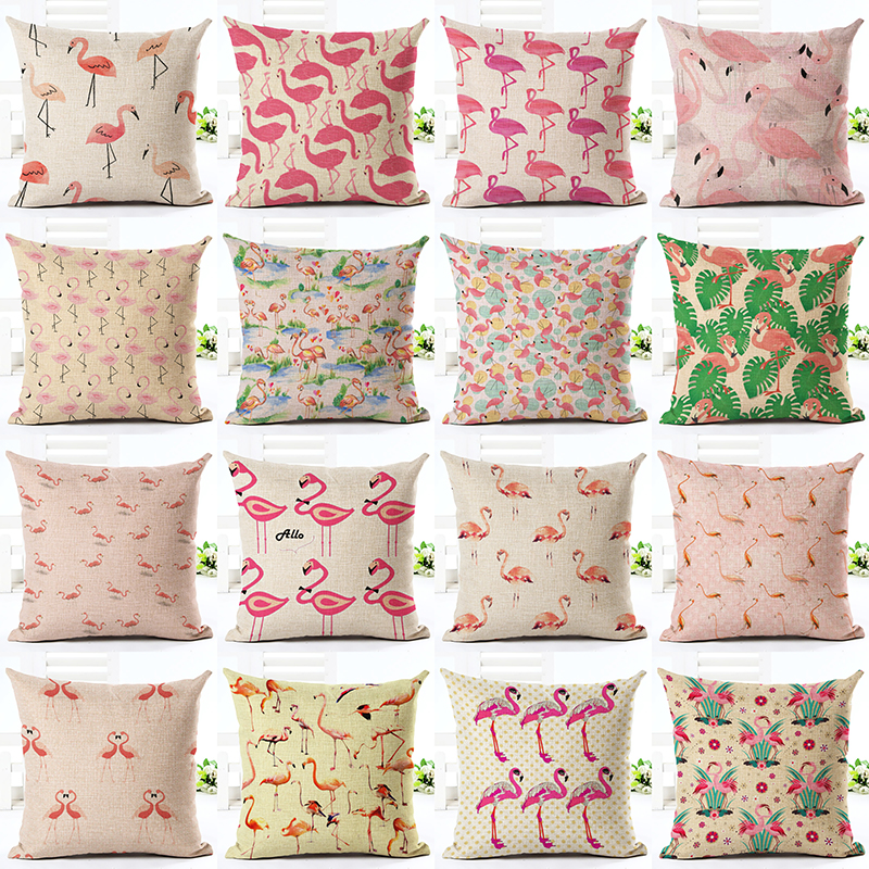 online hot sale home decor flamingo printed throw pillowcase car ded houseware gift cushion cover decor almofadas cojines