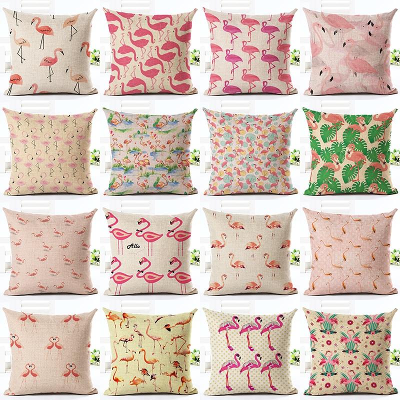 online hot sale home decor flamingo printed throw pillowcase car ded houseware gift cushion cover decor almofadas cojines
