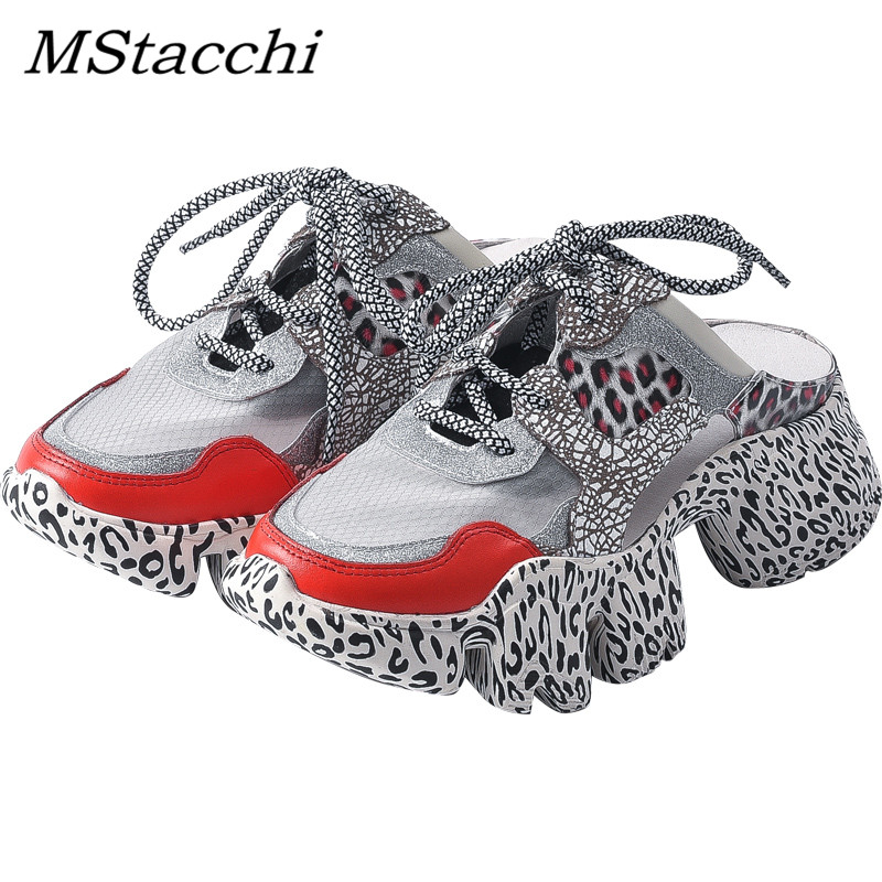 MStacchi Leopard Mesh Sneakers Women Summer Glitter Bling Thick Platform Lace-Up Ladies Dad Shoes High Quality Walking ShoesMStacchi Leopard Mesh Sneakers Women Summer Glitter Bling Thick Platform Lace-Up Ladies Dad Shoes High Quality Walking Shoes