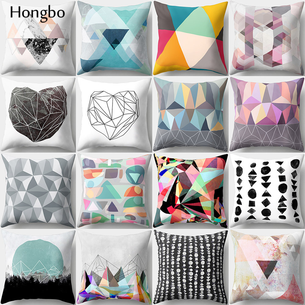 Hongbo 1 Pcs Colorful Marble Geometric Printed Pillow Case Cushion Cover Bed Pillowcase For Car Sofa Home Decor Decoration