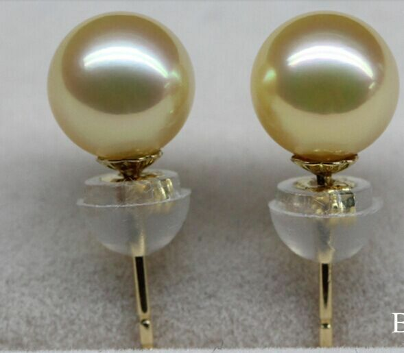 charming pair of round 10-11mm south sea gold pearl earring 18kcharming pair of round 10-11mm south sea gold pearl earring 18k