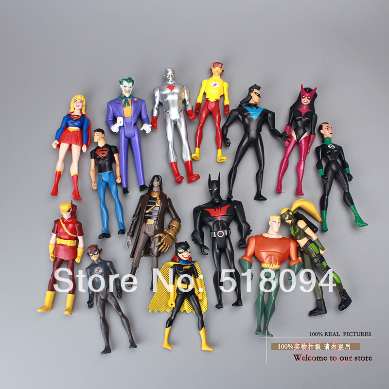 DC Comics Superman Green Lantern The Flash The Atom Black Canary PVC Action Figures Collection Model Toys 15pieces/set dc comics superman green lantern the flash the atom black canary pvc action figures collection model toys 15pieces set