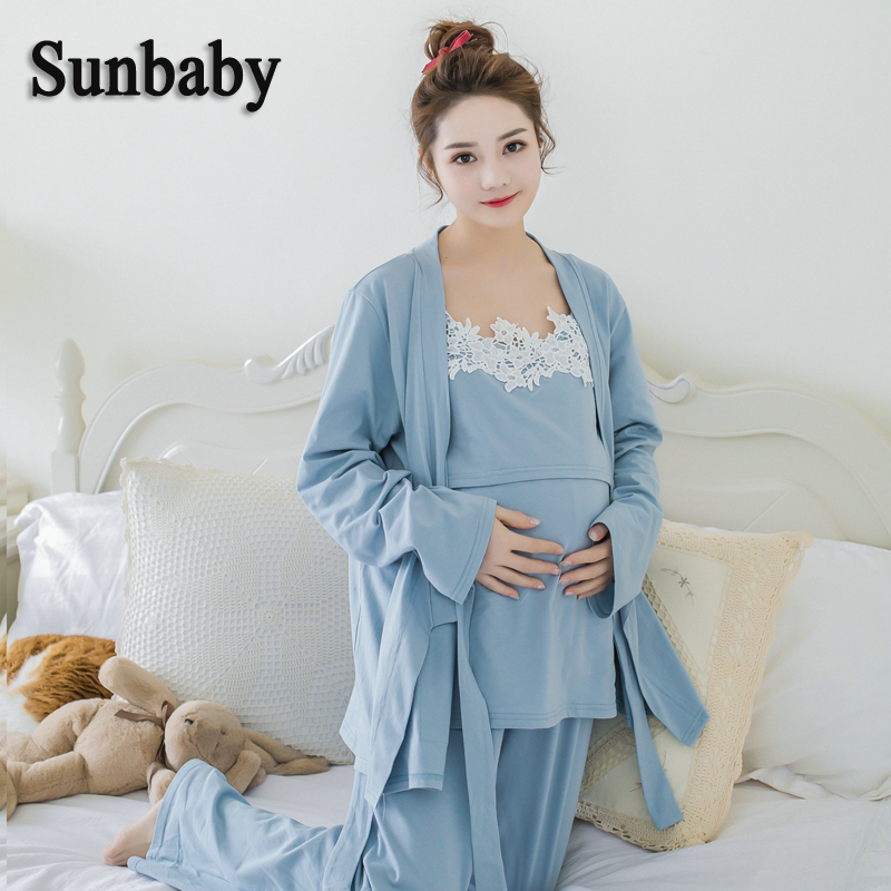 Sunbaby Winter Fashion Kimono Style Long Sleeve nightie for feeding Soft breastfeeding clothes for pregnant women 3 pcs set цена