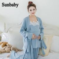 Sunbaby Winter Fashion Kimono Style Long Sleeve nightie for feeding Soft breastfeeding clothes for pregnant women 3 pcs set breastfeeding winter nighty long nighties for women -