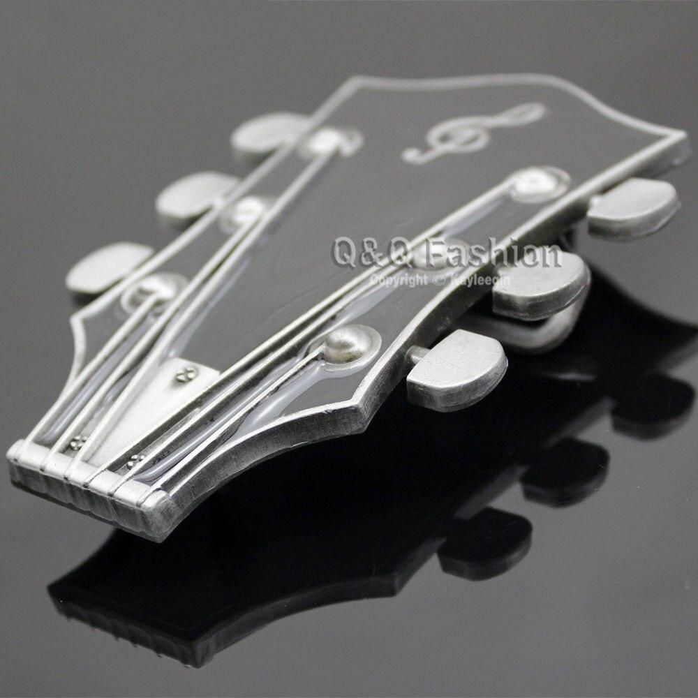 Guitarist Western Silver Guitar Men Women Belt Buckle Rock Roll Music Note Tuner Enamel Exchange Clothes Acessories