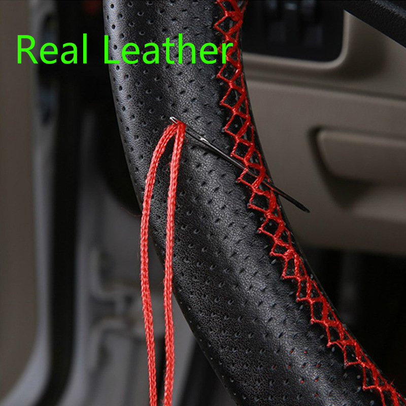 Leather Steering Wheel Cover Hot Selling Four Seasons General Purpose Hand-sewn Cowhide Car Handle Steering Wheel Cover(China)