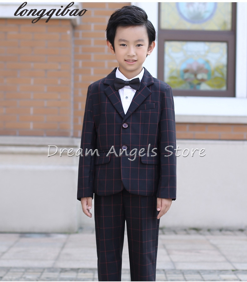 hot 2017 top quality boys red plaid blazer 5 pcsset wedding suits for boy