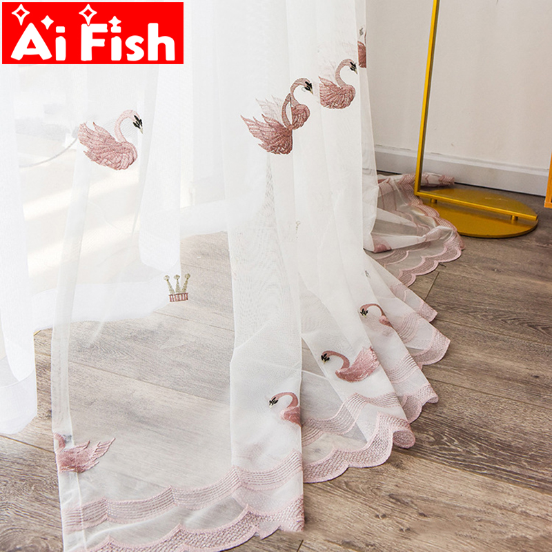 Pink Cute Swan Gauze Bedroom Tulle Balcony Decorative Drapes White Embroidered Curtains Sheer Screens For Living Room MY146-40