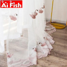 Pink Cute Swan Gauze Bedroom Tulle Balcony Decorative Drapes White Embroidered Curtains Sheer Screens For Living Room MY146-40(China)