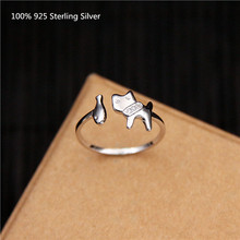 100% 925 Sterling Silver Fashion Rings Women Dog and Fish Oppen Ring for Jewelry