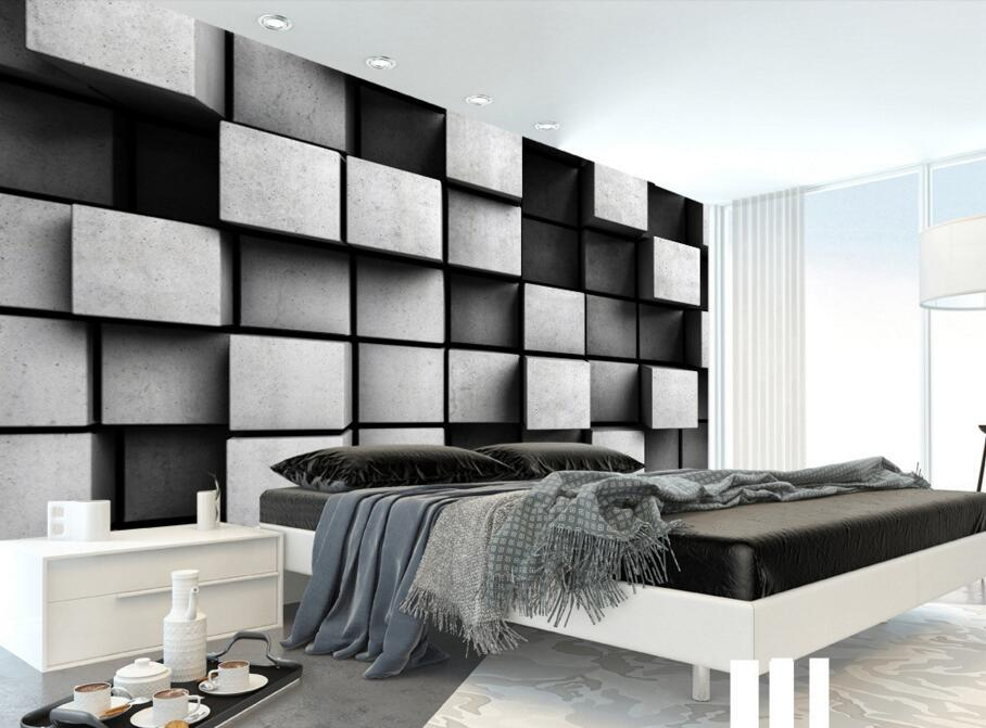 custom 3d papel de parede geometric cube modern murals for. Black Bedroom Furniture Sets. Home Design Ideas