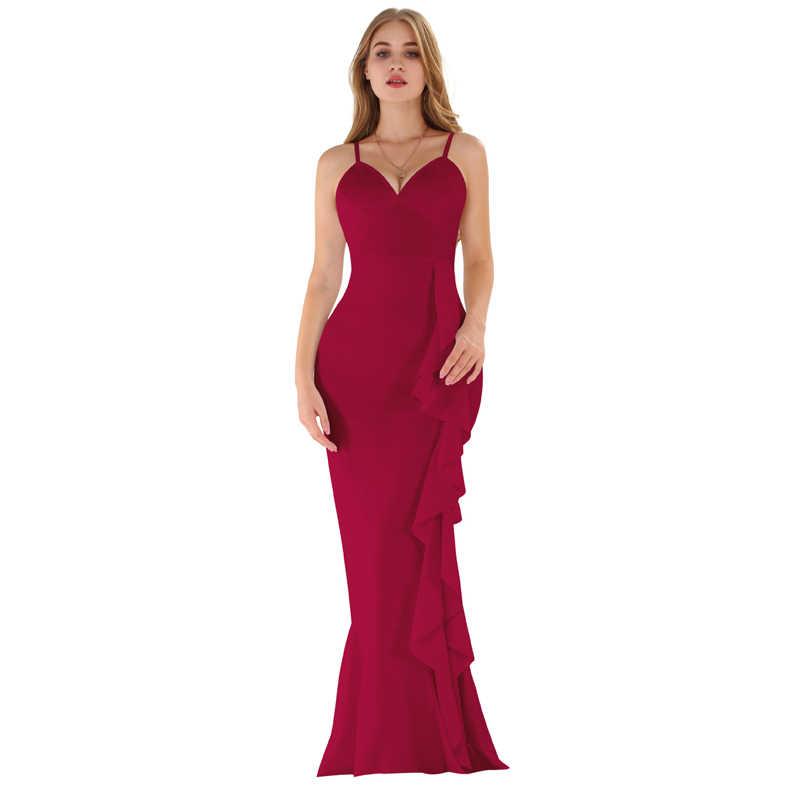 2019 das Mulheres do Outono Sexy Sling Vestido Backless Lado Oculto Zipper Ouvidos Espessamento Longo Vestido Branco Vinho Vermelho Preto Vestido