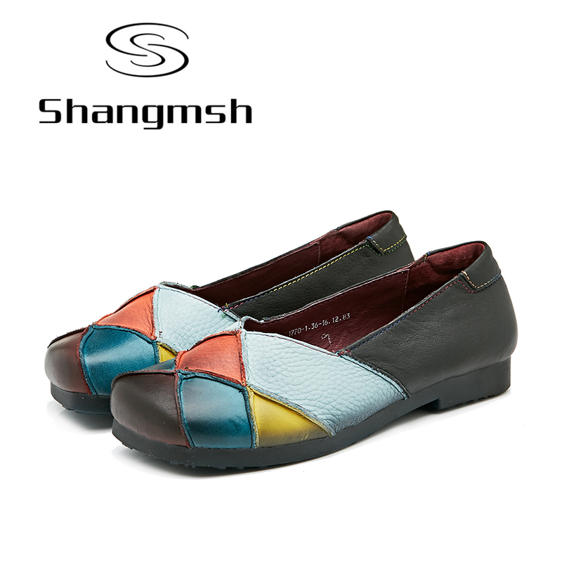 Shangmsh Ballet Shoes Female Slip On Mixed Colors Genuine Leather Women Shoes Soft Comfortable Casual Flats Shoes Loafers 2017 fashion women shoes genuine leather loafers women mixed colors casual shoes handmade soft comfortable shoes women flats