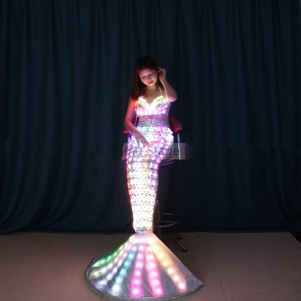 La princesse sirène lumineuse sur le thème de la mer montre des costumes de danse led sirène lumineuse cos jouant Halloween