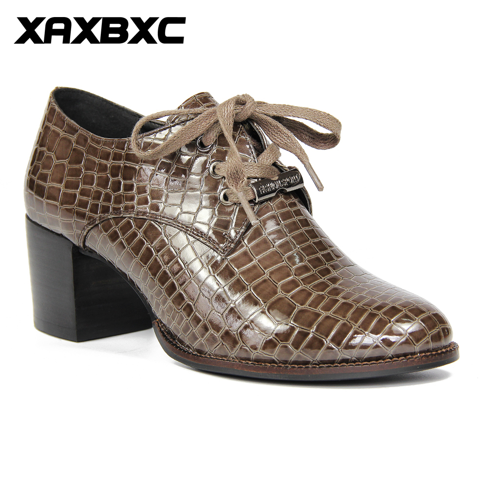 XAXBXC 2017 Retro British Autumn Brown PU Leather Brogue Thick Heel Lace-Up Oxfords Women Shoes Handmade Casual Lady Shoes lovexss genuine leather brogue shoes oxfords brown apricot casual lace up flats 2017 spring autumn student brogue shoes