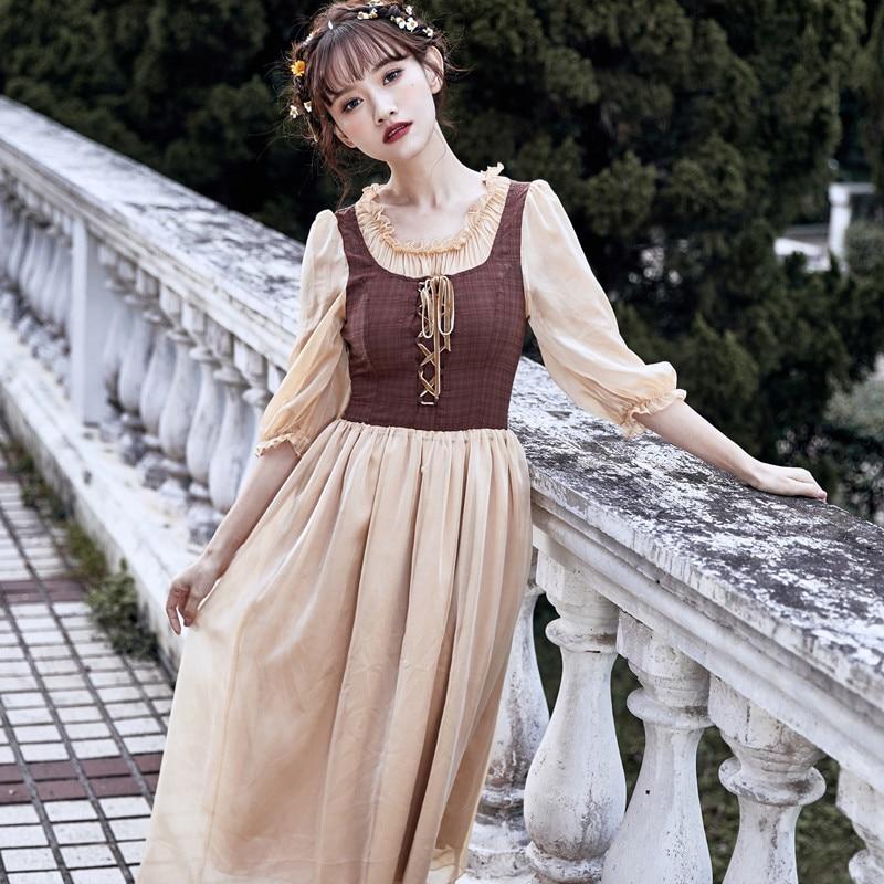 Vintage Mori Girl Style Retro Ruffled Patchwork Plaid Women Dress Half sleeve Large Size Casual Female