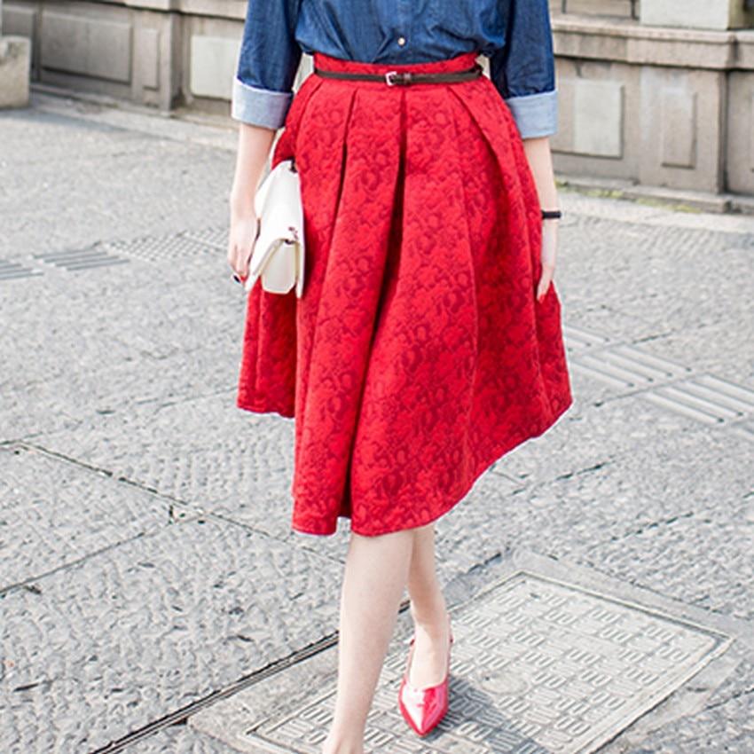 EXOTAO Φθινόπωρο Ρετρό Υψηλή Μέση Φούστα - Γυναικείος ρουχισμός - Φωτογραφία 2