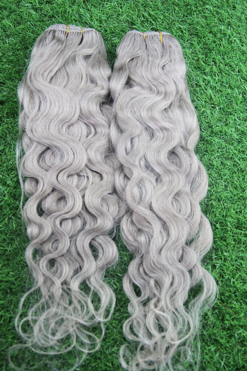 Brazilian Silver Grey Hair Extensions 1pcslot Human Grey Hair Weave