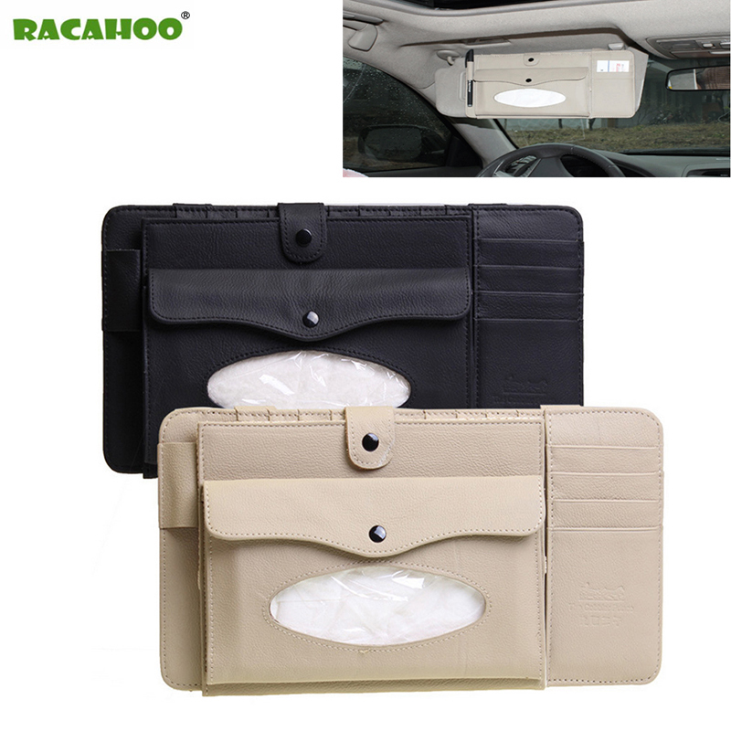 RACAHOO 3 in 1 Leather CD Case Car DVD Sun Visor Box With Tissue Storage Organizer For Glasses Folder Business Card Holder Bag