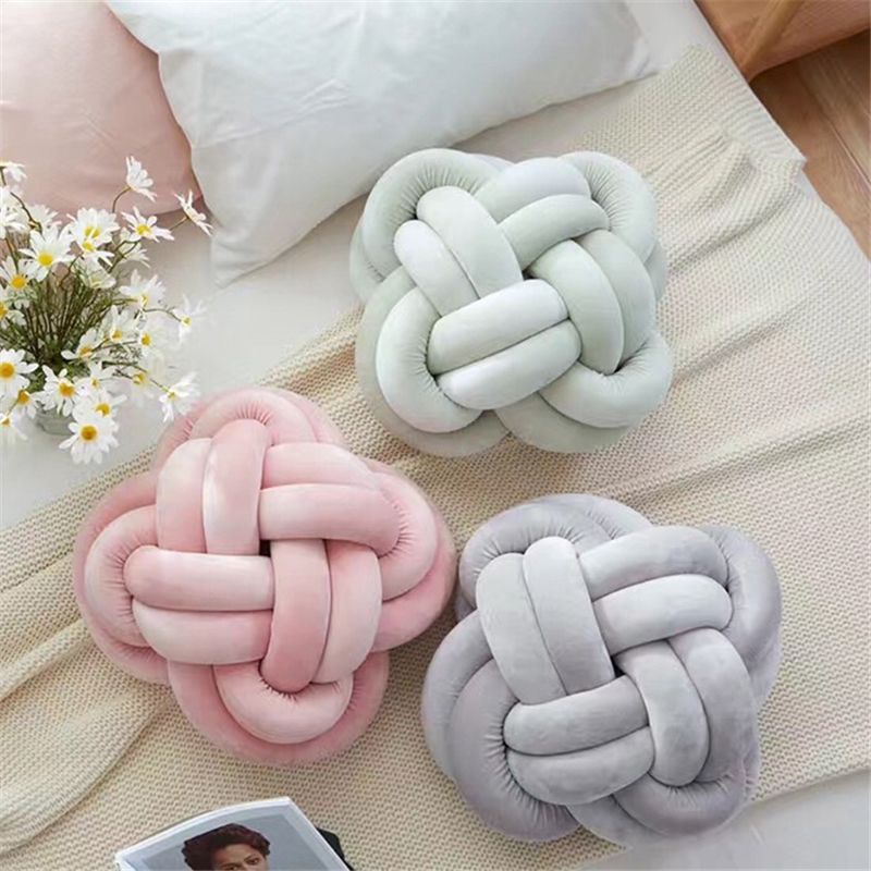 Ins Knot ball knot pillow, Nordic simple knit round sofa pillow, cardigan trim cushions 30cm