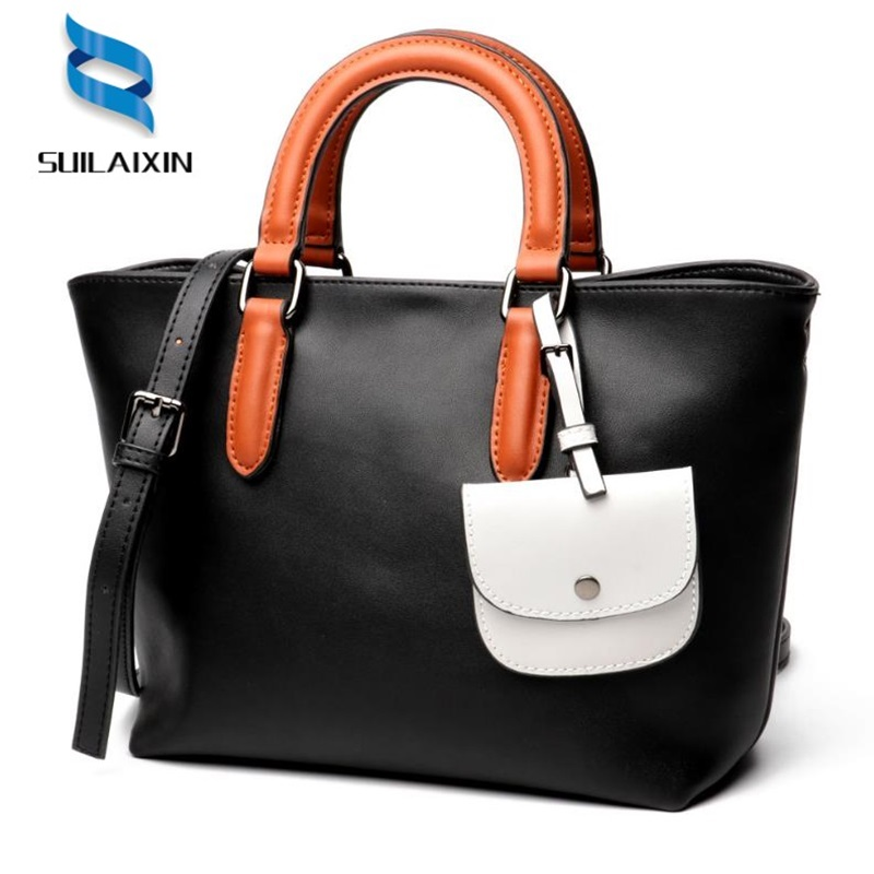 цена на 100% LUXURY Genuine Leather Women Shoulder Bag Brand Designer Cowhide genuine leather handbag Large Tote Bags With Small wallet