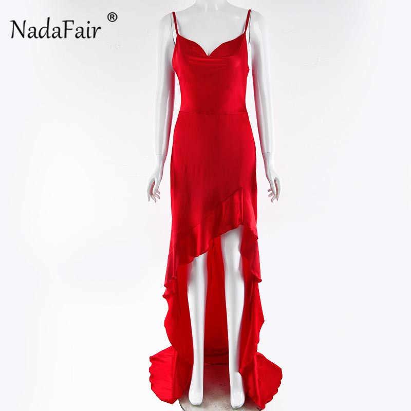 Nadafair Сексуальная ремень пол Длина вечерние платье Для женщин Русалка без рукавов с оборками атласное платье-комбинация длинное платье в обтяжку красный Vestidos