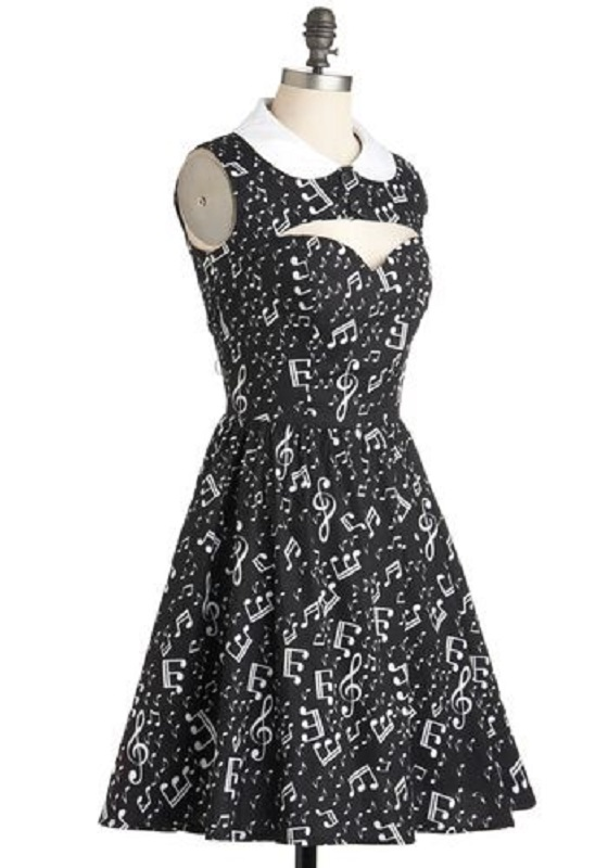 Summer Music Dress Women Musical Notes Print Peter Pan Collar Dresses Hollow Out Chest Party Vestido Slim Vintage Dress in Dresses from Women 39 s Clothing