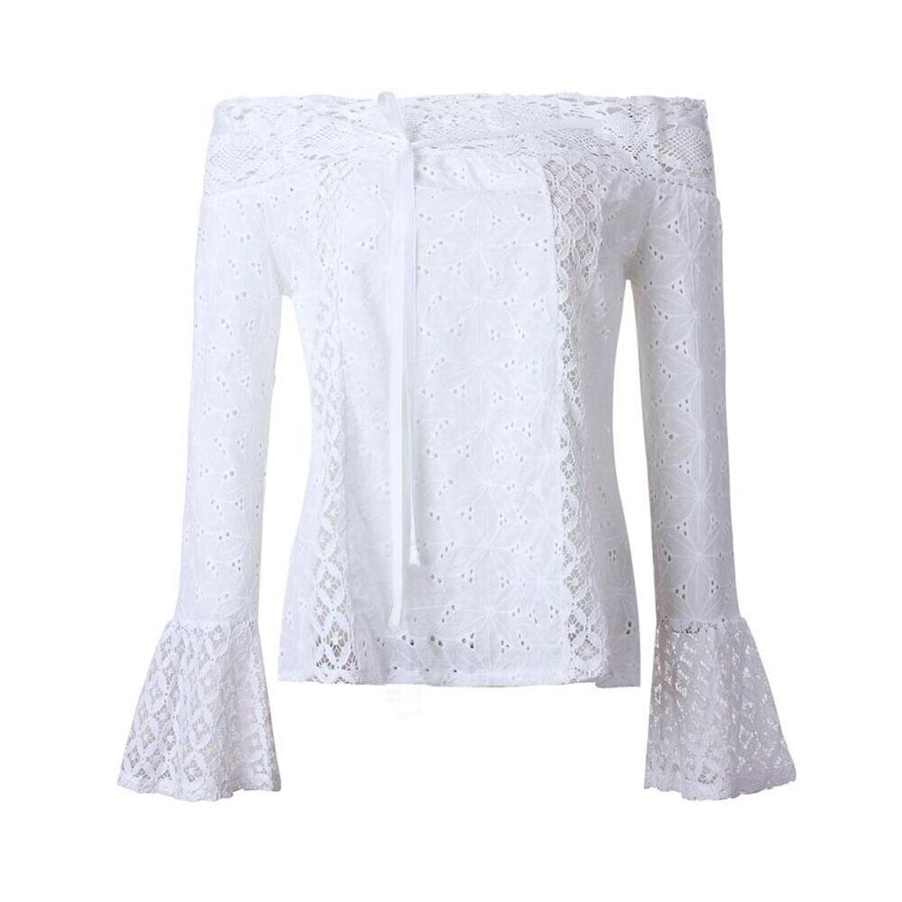 HTB1NpdrQFXXXXbLaXXXq6xXFXXXP - Women Elegant Sexy Off Shoulder Long Sleeve Lace blouse White shirt PTC 249