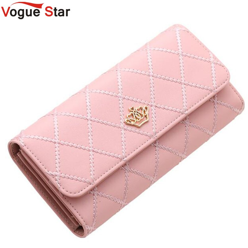 все цены на New fashion high capacity women wallets metal crown lady long clutch wallet female PU leather flip up card holder purse  LB529