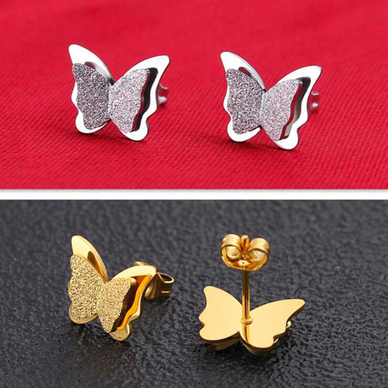 Yiustar Romantic Double Butterfly Earrings for Women Tiny Smooth and Scrub Butterfly Stainless Steel Cartoon Stud Earrings Gifts