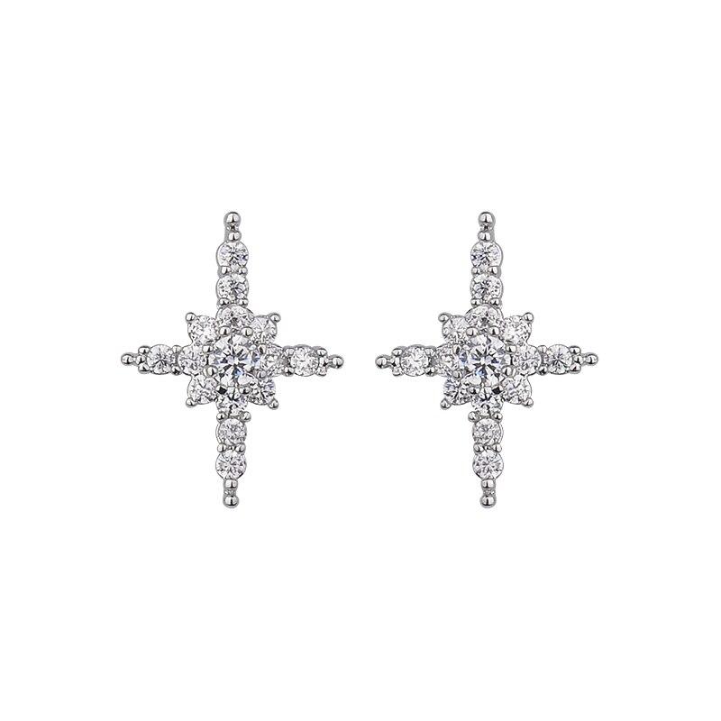 c451f33ba761 Nuevo diseño CZ rhinestone Pendientes de broche Cruz flor pendiente regalo  de moda femenina gle3851