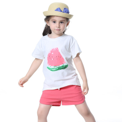 Girls Clothing Sets 2018 New Summer Girls clothes Watermelon Pattern Print Kids clothes T-shirt + Red Shorts Children clothing 2017 summer girls sets clothes short sleeve chiffon baby girls sets for kids big girls t shirts and stripe shorts children suits