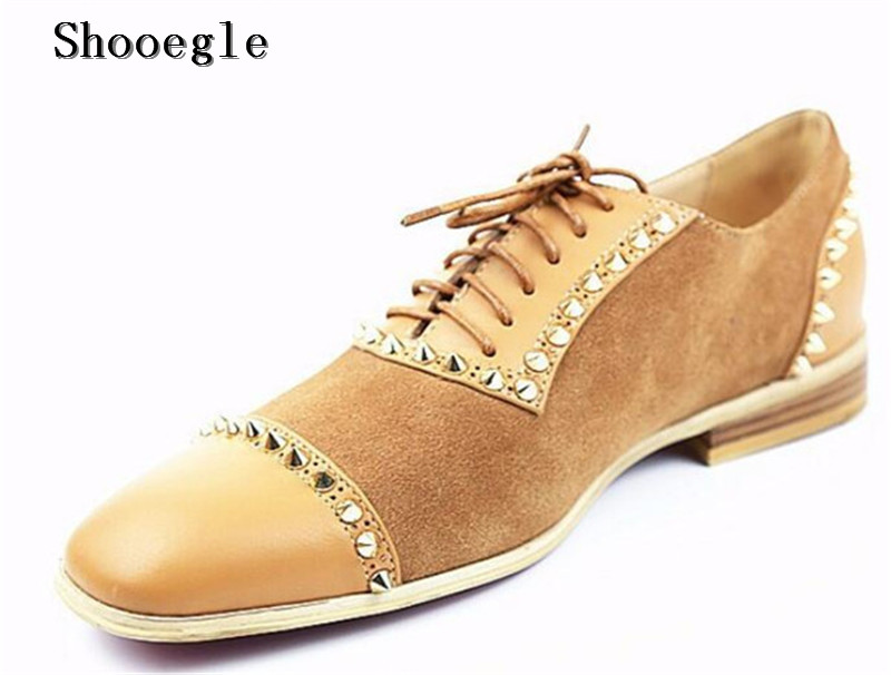 SHOOEGLE Own Brand Design Men Patchwork Shoes Suede and Leather Low-heeled Loafers Gold Rivet Handmade Men Dress Party Shoes