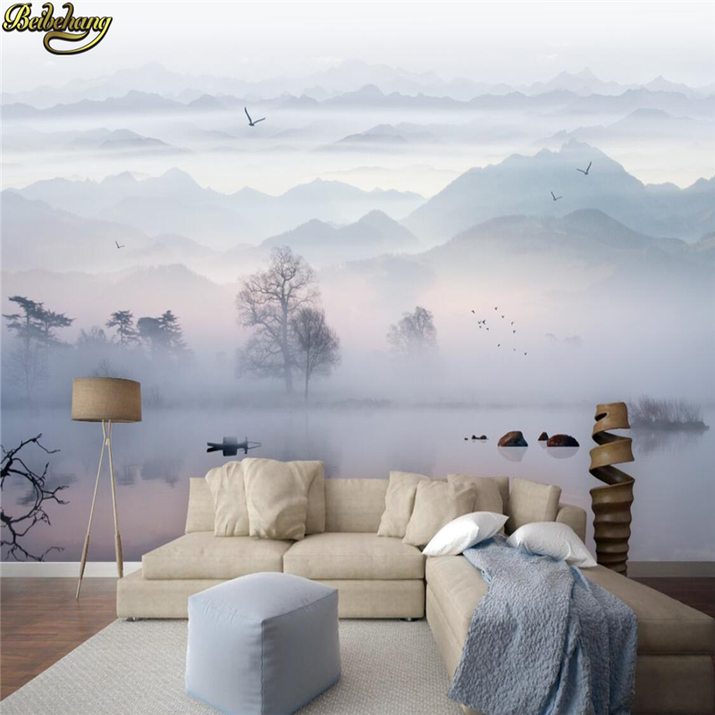 Beibehang Custom Ink Painting Landscape Scenery Fog Mural Wallpapers For Living Room Living Room Decoration 3D Wall Paper Rolls