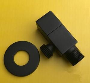 Твердый медный черный матовый квадратный угловой клапан, уплотненный водопроводный клапан горячей и холодной воды через клапан взрыв хром