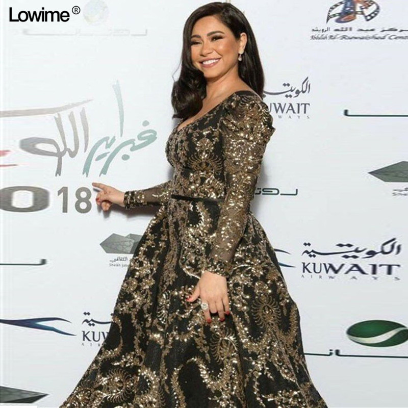 US $226.29 27% OFF 2019 Modest Plus Size Celebrity Dresses A line Formal  Long Sleeve Sequin Evening Red Carpet Gowns Runaway Grand Show Dresses-in  ...